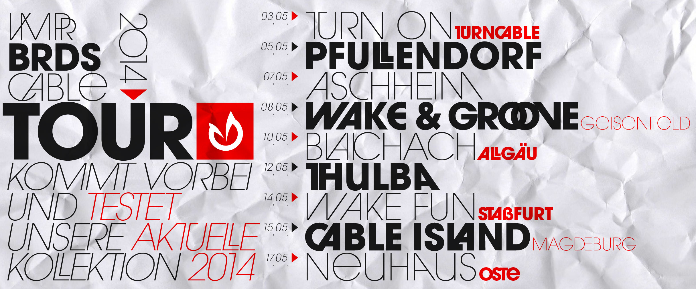 Vampire Boards 2014 Cable Tour - Graphic Design / Online Flyer